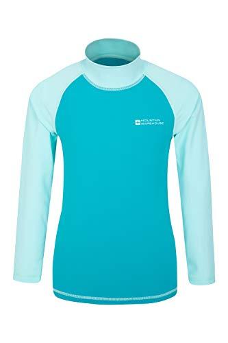 Mountain Warehouse Badeshirt für Kinder - Schwimmshirt mit UV-Schutz, Schnelltrocknendes Rash Guard Stretch, Langarmshirt für Kinder, Flache Nähte Blaugrün 7-8 Jahre