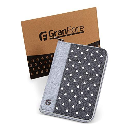 GranFore Mutterpasshülle - Mit Reißverschluss zur sicheren Aufbewahrung - Hülle für Mutterpass aus Filz - 8 Fächer zur Aufbewahrung - Organizer für Mutterpass grau
