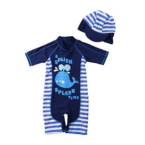 Geagodelia Kinder Baby Jungen Badeanzug Bademode mit Badekappen UV-Schutzanzug Kurzer Arm für Strand & Pool Sommer Kinder Badekleidung