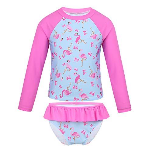 FEESHOW Mädchen Tankini Sets Langarm Badeanzug mit Flamingo Motiv Sportlich Schwimmshirt Badeshirt+ Badeslip Volants Kinder Bademode Rose Pink 110-116