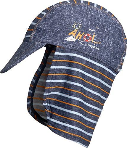 Playshoes Jungen Mütze Bademütze AHOI mit UV-Schutz, Blau (Jeansblau 3), Large (Herstellergröße: 53cm)