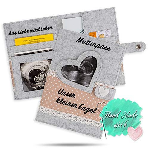 NEU! Mutterpasshülle Pikaflor (Handmade, aus Filz) Beige + Fach für Ultraschallbilder, Versichertenkarte, Impfpass & Mutterpass   A5 Format für deutschen Mutterpass   Geschenkidee für Schwangere