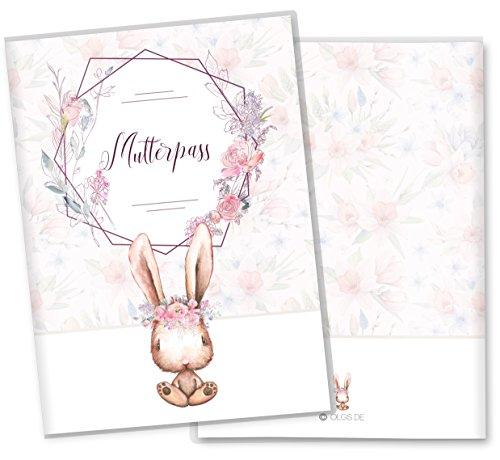 Mutterpasshülle 3-teilig Cute Bunny Hase schöne Geschenkidee Schutzhülle (Mutterpass ohne Personalisierung, Romy)