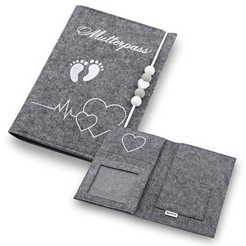 Lezzanna - Mutterpasshülle aus Filz - Mutterpass Tasche - Dokumententasche - in 4 Farben - viele Fächer für Ultraschallbilder und vieles mehr - Geschenk für Schwangere - Organizer