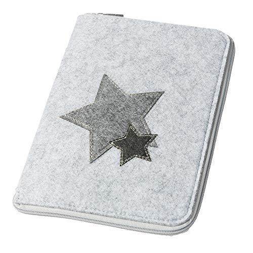 Mom's Organizer 'Sterne' mit rundum Reißverschluss für Mutterpass & U-Heft hellgrau, Farbe wählbar) | Filz Hülle in A5 als Uheft- und Mutterpasshülle