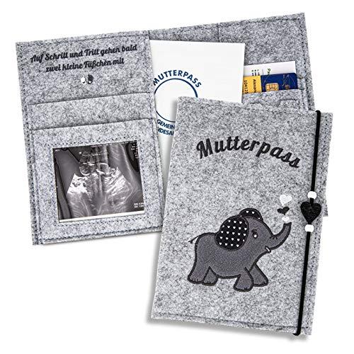 ZWEN Mutterpasshülle Elefant grau - Mutterpasshülle filz für deutschen Mutterpass handmade - Mutterpass Organizer mit Fächern für Ultraschallbild, Impfpass etc. als Schwangerschaft Geschenk