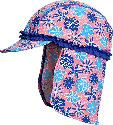 Playshoes Mädchen Mütze Bademütze Veilchen mit UV-Schutz, Mehrfarbig (LACHS 41), Small (Herstellergröße: 49cm)