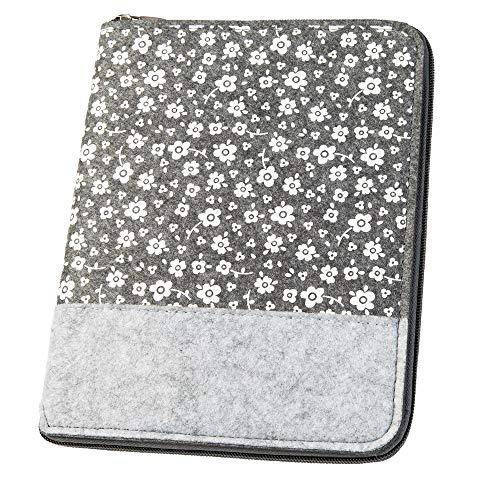 Mom's Organizer 'Blumenwiese' für Mutterpass & U-Heft, grau (Farbe/Motiv wählbar) | Hülle (A5) aus Filz mit Reissverschluss als Uheft- und Mutterpasshülle (2in1)